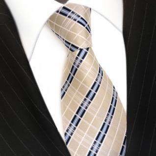 TigerTie Seidenkrawatte creme elfenbein weiss blau gestreift - Krawatte Seide - Vorschau 3