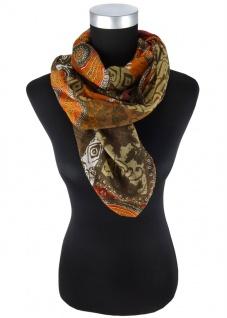 Halstuch in rot olivebraun orange grau braun gemustert - Gr 100 x 100 cm