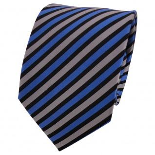 TigerTie Seidenkrawatte blau grau schwarz gestreift - Krawatte Seide Binder