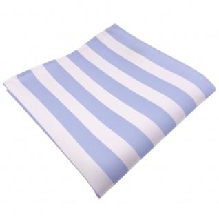 TigerTie Einstecktuch blau babyblau himmelblau weiß gestreift - Tuch Polyester