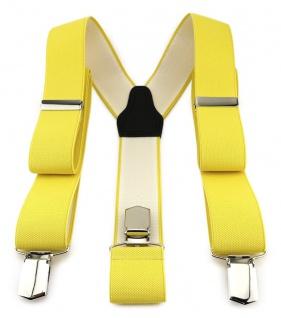TigerTie Unisex Hosenträger mit 3 extra starken Clips - gelb einfarbig Uni