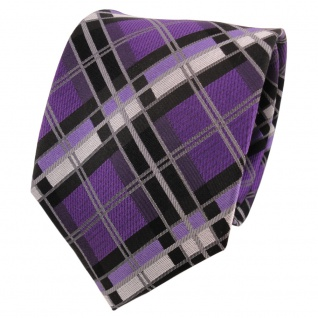 TigerTie Designer Seidenkrawatte lila grau schwarz silber kariert - Krawatte