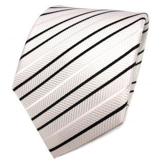 TigerTie Designer Seidenkrawatte weiß creme schwarz gestreift - Krawatte Seide
