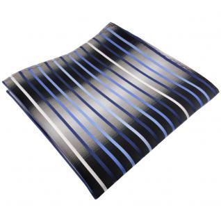 TigerTie Einstecktuch in blau hellblau silber grau weiß schwarz gestreift - Tuch