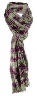 Raffschal in violett grün grau dunkelbraun gemustert - Schal Größe 180 x 50 cm