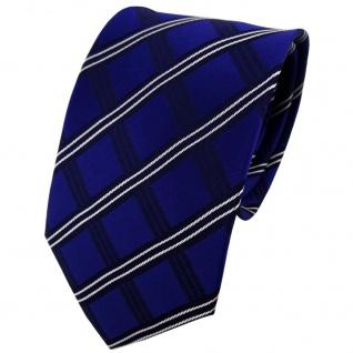 TigerTie Designer Seidenkrawatte blau kobaltblau weiß kariert - Krawatte Seide