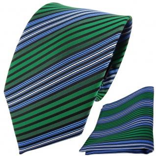 TigerTie Designer Krawatte + Einstecktuch grün blau schwarz silber gestreift
