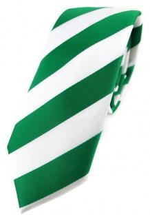 Schmale TigerTie Krawatte grün leuchtgrün weiß gestreift - Binder Tie