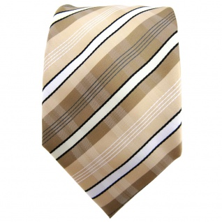 TigerTie Krawatte beige elfenbein weiß schwarz grau gestreift - Binder Tie - Vorschau 2