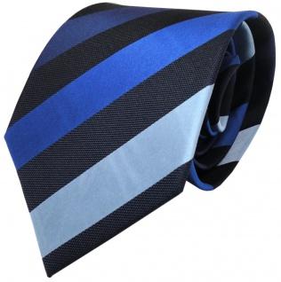 TigerTie Seidenkrawatte Satin blau dunkelblau gestreift - Krawatte 100% Seide