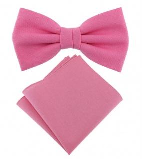 TigerTie Jungenfliege - Einstecktuch rosa pink Uni - Halsumfang verstellbar -Box