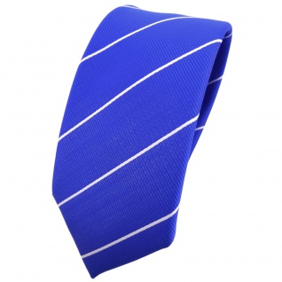 Schmale TigerTie Krawatte blau ultramarinblau silber gestreift - Binder Tie