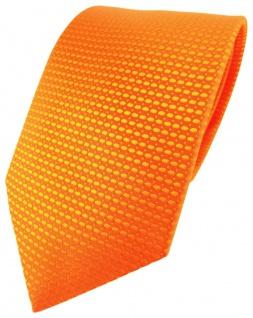 TigerTie Designer Seidenkrawatte in orange Uni gemustert - Krawatte 100% Seide