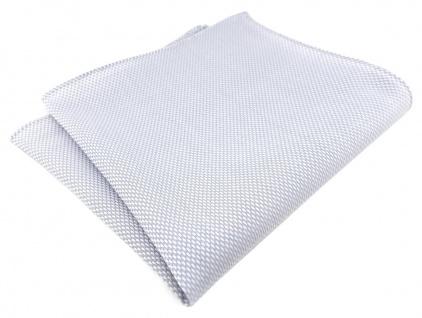 TigerTie Einstecktuch 100% Baumwolle - Pique hellgrau-weiß gemustert -30 x 30 cm