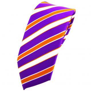 Schmale TigerTie Krawatte lila violett orange weiß gestreift - Binder Tie