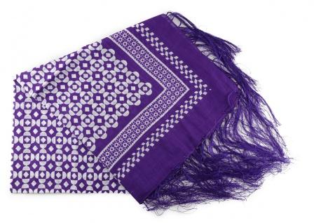 Halstuch in violett grau gemustert mit dünnen Fransen - Größe 100 x 100 cm