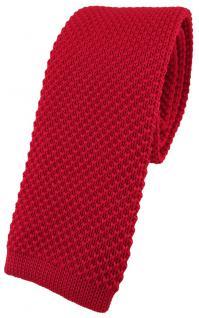 hochwertige TigerTie Designer Strickkrawatte in rot einfarbig Uni - Krawatte