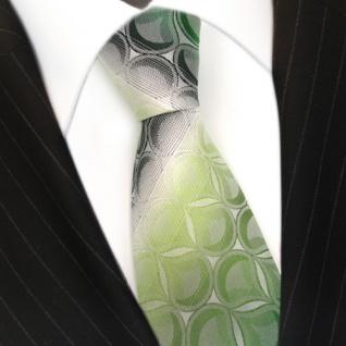 TigerTie Seidenkrawatte grün hellgrün dunkelgrün weiss gestreift - 100 % Seide