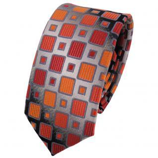 Schmale TigerTie Krawatte orangerot silbergrau schwarz kariert - Schlips Binder Tie