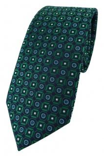 TigerTie Designer Krawatte in grün blau silber schwarz gemustert