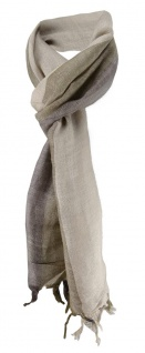 Schal in beige braun dunkelgrau gestreift mit kleinen Fransen - Gr. 180 x 30 cm