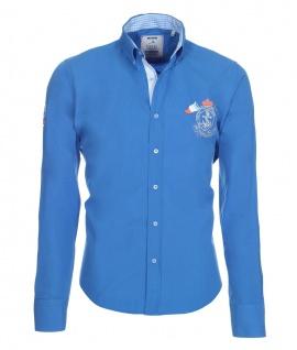 Pontto Designer Hemd Shirt blau himmelblau einfarbig langarm Modern-Fit Gr. XL