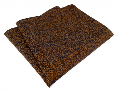 TigerTie Designer Einstecktuch in kupfer schwarz florales Muster