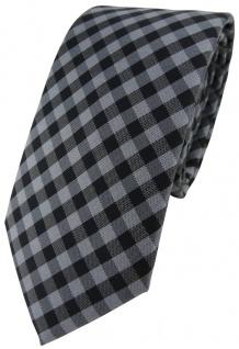 Modische TigerTie Designer Krawatte in anthrazit grau schwarz kariert