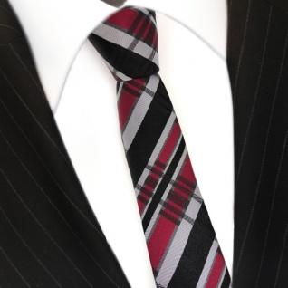 schmale TigerTie Seidenkrawatte schwarz rot grau silber kariert - Krawatte Seide - Vorschau 3