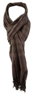 TigerTie Designer Schal in grau braun kariert mit Fransen - Gr. 180 x 50 cm