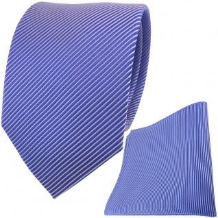 TigerTie Seidenkrawatte + Seideneinstecktuch blau signalblau silber gestreift