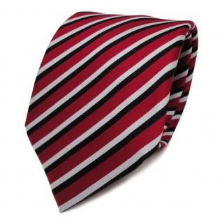TigerTie Designer Krawatte rot weiss schwarz gestreift