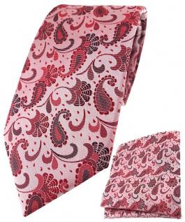 TigerTie Krawatte + Einstecktuch in rot weinrot rosa anthrazit Paisley gemustert