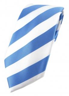 TigerTie Designer Krawatte in blau weiss gestreift