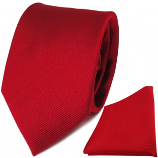 TigerTie Seidenkrawatte + Seideneinstecktuch in rot feuerrot einfarbig Uni Rips