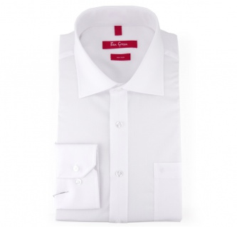 Ben Green Herrenhemd weiß Uni langarm bügelfrei - New-Kent-Kragen Hemd Gr.38