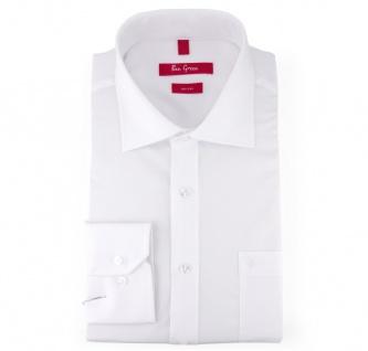 Ben Green Herrenhemd weiß Uni langarm bügelfrei - New-Kent-Kragen Hemd Gr.44