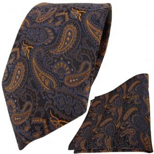 TigerTie Krawatte + Einstecktuch in braun bronze blau schwarz Paisley gemustert