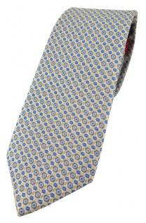 Enrico Sarto hochwertige Designer Seidenkrawatte blau gold grau beige gepunktet