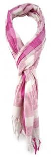 TigerTie Designer Schal in magenta rosa weiss gestreift - Gr. 180 x 50 cm
