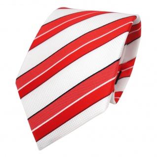 TigerTie Designer Krawatte - Tie Binder rot verkehrsrot weiß schwarz gestreift