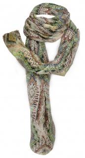 Schal grün braun beige gelb rotbraun grau Aztekisch gemustert - Gr.180 x 70 cm