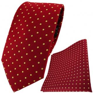 TigerTie Designer Krawatte + Einstecktuch in rot gold gepunktet