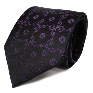 Schicke Designer Seidenkrawatte lila schwarz gemustert - Krawatte Seide Binder