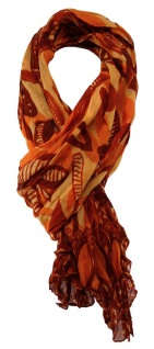 TigerTie - Chiffon Designer Schal in orange rot gemustert