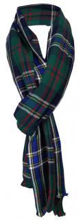 Schal in grün blau schwarz gelb grau weinrot kariert - Gr. 200 x 50 cm