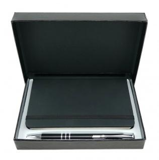 TigerTie - Schreibset schwarz - Druck-Kugelschreiber, Notizbuch in Geschenkbox