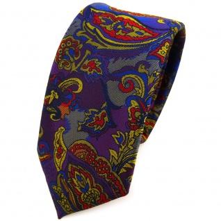 Schmale TigerTie Krawatte lila blau gold anthrazit mehrfarbig Paisley gemustert