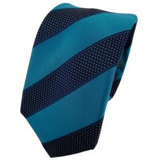 Enrico Sarto Seidenkrawatte türkis blau silber gestreift - Krawatte Seide Tie