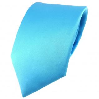 TigerTie Satin Seidenkrawatte in türkis einfarbig Uni - Krawatte 100% Seide